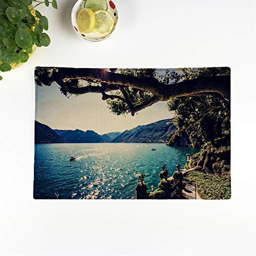 Awowee Set of 4 Placemats Lake Como People on Boat Ride Summer Time European Non-Slip Doily Place Mat for Dining Kitchen Table