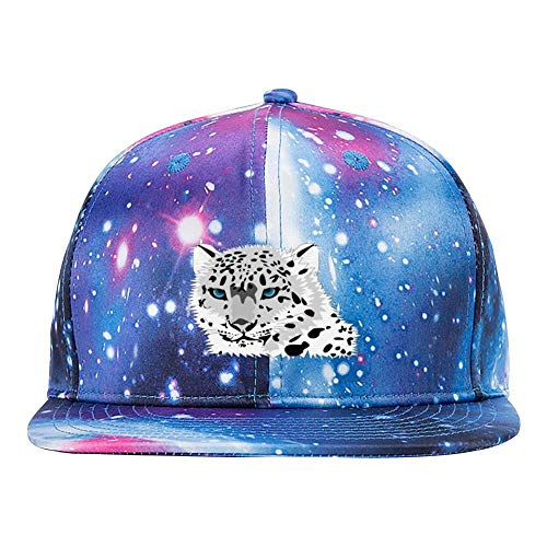 (Black and White Cartoon Snow Leopard Men's and Women's 3D Print Adjustable Starry Baseball Cap)