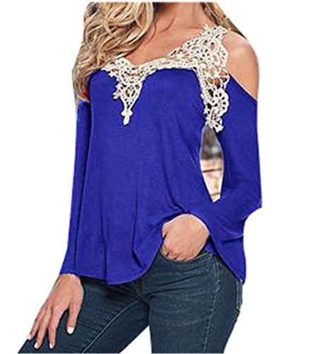 Women Blouse Shirt Top Solid Sexy Floral Lace Off Shoulder Blue Shirt Streetwear Long Sleeve Casual Top Royal blue - Website Macys