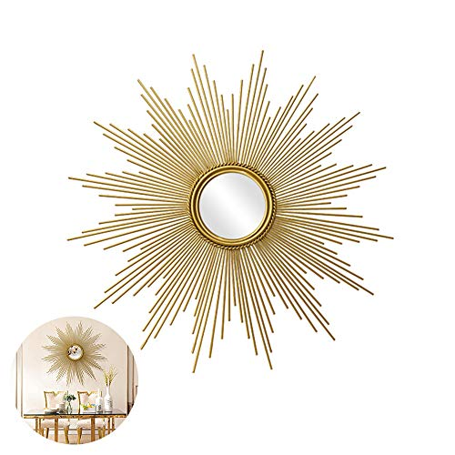 Round Wall Mirror, 3D Stereo Large Metal Decorative Sunburst Shape Wall Mirror, -
