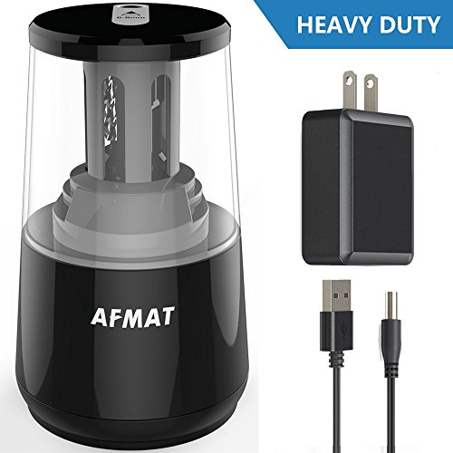 AFMAT Electric Pencil Sharpener, Heavy Duty Helical Blade Sharpeners, Auto Stop for Kids, School Home Office Classroom, AC or Battery Operated for NO. 2 and Colored Pencils (USB and Adapter Included) by AFMAT