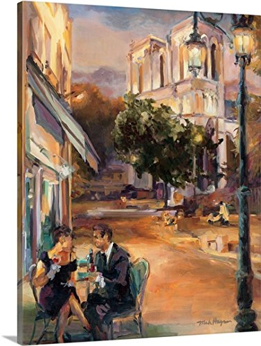 Canvas On Demand Premium Thick-Wrap Canvas Wall Art Print entitled Twilight Time in Paris - In Paris Time Sunset France