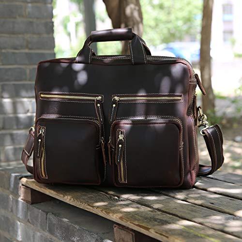 fd385c48cd69 Iswee Men s Vintage Crazy Horse Full Grain Leather 16in Laptop Briefcase Business  Messenger Bag Tote Shoulder