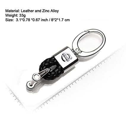 VILLSION 2Pack Genuine Leather Key Chain Car Logo Keychain for Driver Gift Braid Strap Key Ring