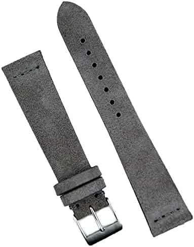 B & R Bands 22mm Gray Vintage Suede Watch Band Strap - Small Length