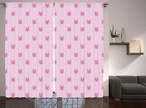 Pig Decor Collection Pig Avatar Kid-Friendly Clip Art Funny Icon Illustration Design Art Print Window Treatments Living Boys Girls Room Curtain 2 Panels Set Pink Blush for $<!--$74.99-->