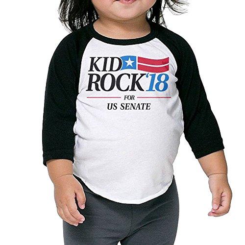 MANMANDE Kid Rock'18 For US Senate Children's 100% Cotton Novelty Round Neck Half Sleeve Raglan Sleeves T-Shirt For Boy's and Girl's