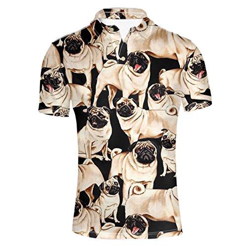 - HUGS IDEA Classic Men's Golf Jersey Polos Shirt Pug Pattern Cute Short Sleeve Collar 3 Button Up T-Shirts Summer Clothing