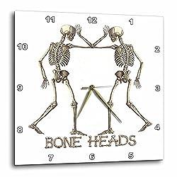3dRose dpp_53739_3 Two Skeletons-Bone Heads-Wall Clock, 15 by 15-Inch