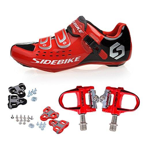 Skyrocket Zapatos de ciclismo de carretera Profesional Zapatos Biking del camino con Pedales de 1 par (Elija por favor un tamaño más grande que generalmente) Rojo Pedales + Negro Zapatos