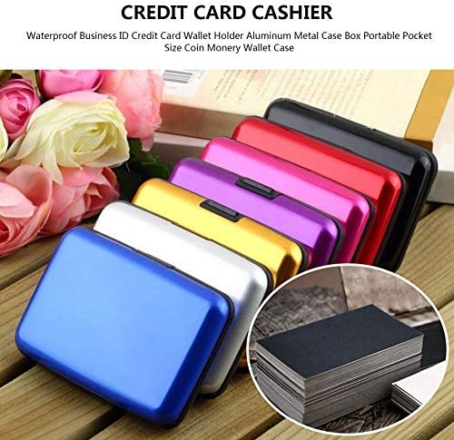/Étanche Business ID Carte de cr/édit Porte-Monnaie en Aluminium M/étal Case Box Portable Pocket Taille Coin Monery Wallet Case Noir