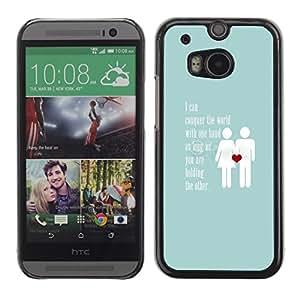 Cubierta protectora del caso de Shell Plástico || HTC One M8 || Blue Couple Heart Inspiring @XPTECH