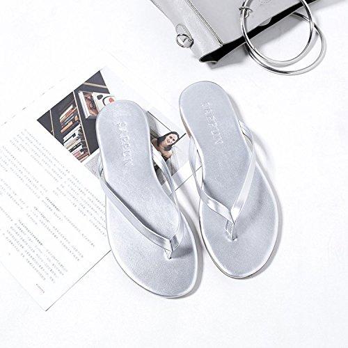 la Flat parola pantofole pin casual e trascinare clip Girl Qiqi Xue Silver Cool antiscivolo Wear Fashion studenti Beach wxqtI8Ha