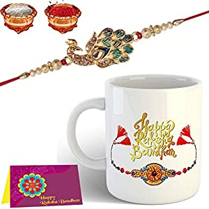 Mug Rakhi Gift for Brother Combo Pack (Printed Coffee Mug, Rakhi, Roli and Chawal)