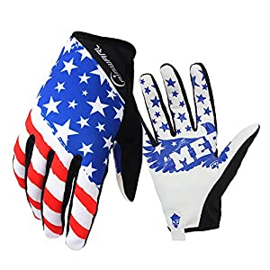 Bike MTB gloves with American flag pattern design for off-road motorcycles - mountain climbing - hiking and other outdoor sports use, male and female common. (L)
