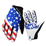 Bike MTB gloves with American flag pattern design for off-road motorcycles - mountain climbing - hiking and other outdoor sports use, male and female common. (M)