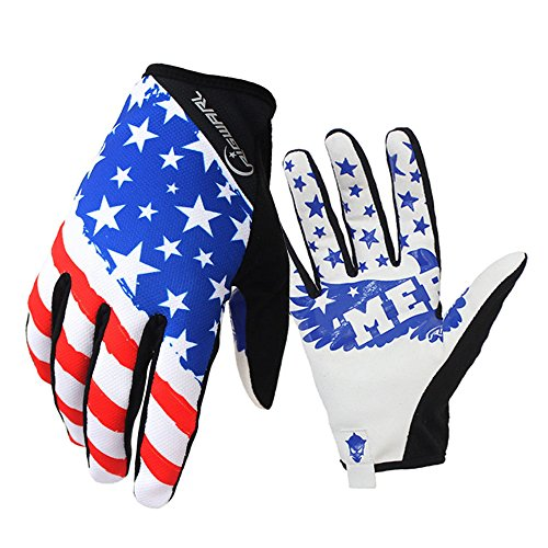 RIGWARL Bike MTB gloves with American flag pattern design for off-road motorcycles - mountain climbing - hiking and other outdoor sports use, male and female common. (L)