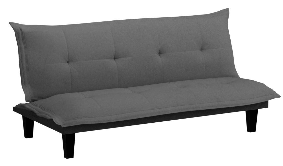 DHP Lodge Convertible Futon Couch Bed with Microfiber Upholstery and Wood Legs, Charcoal by DHP