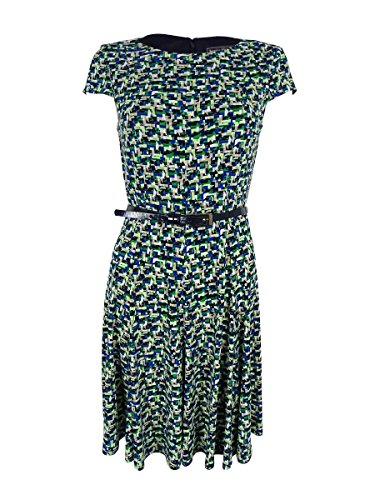 Jessica Howard Womens Printed Belted Sheath Dress