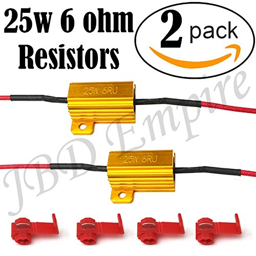 2pcs 25W 6Ohm LED Load Resistors for LED License Plate Lights or LED Turn Signal Lights or DRL (Fix Hyper Flash, Warning Cancellor) with 4pc Quick Splice wire Clip