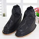 Benran Rain Shoe Covers Shoes Overshoes Boot Gear Zippered Shoes for Men and Women (Black, 30.5cm)