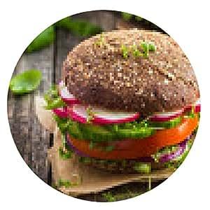 alfombrilla de ratón comida rápida saludable. hamburguesa vegetariana estricta de centeno con las verduras frescas - ronda - 20cm