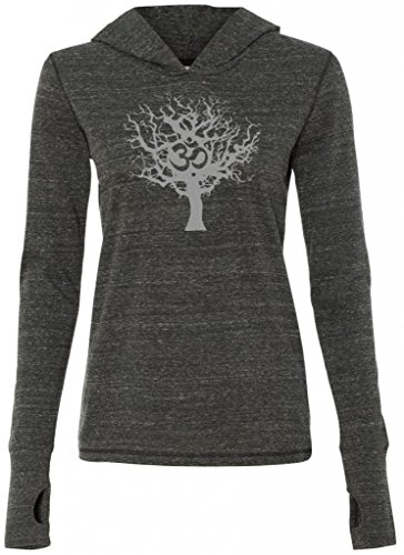 Yoga Clothing For You Ladies Grey Tree of Life Tri-Blend Hoodie, Medium Charcoal