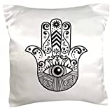 3dRose pc_217281_1 Hamsa Hand Black and White Pillow Case, 16