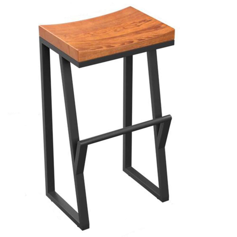 70CM LJFYXZ Bar Stool, Kitchen bar Breakfast Counter Chair Modern Simplicity Metal Frame Solid Wood seat High Stool Bearing Weight 150kg Black (Size   63cm)