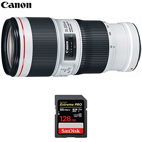 Canon (2309C002) EF 70-200mm f/4.0 L IS II USM Telephoto Zoom Lens with Sandisk Extreme PRO 128GB SDXC UHS-1 Memory Card