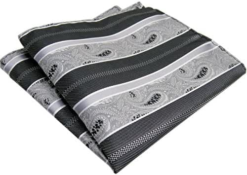 Shlax&Wing White Black Paisley Ties Mens Necktie Silk Business Dress Suit