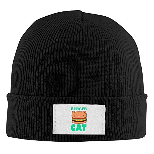 Jidfnjg Burger Cat Chunky Cable Knit Beanie, Winter Knitting Warm Hat Beanie Skull Cap for Women&Men Black Own Ultimate Burgers
