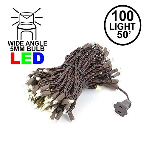 Novelty Lights 100 Light LED Christmas Mini Light Set, Outdoor Lighting Party Patio String Lights, Warm White, Brown Wire, 50 ()