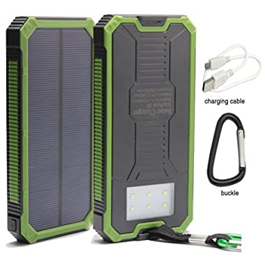 Solar Power, 12000mAh Portable Solar Powered Phone Charger Dual USB Solar External Battery Pack Power Bank for Cellphones With Solar LED Lights For Emergency or As A Camping Light (Green)