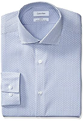 Calvin Klein Men's Non Iron Slim Fit Graphic Check Spread Collar Dress Shirt