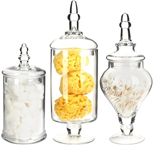 Mantello Decor Glass Apothecary Jars (Clear, Medium Large, Set of 3) ()