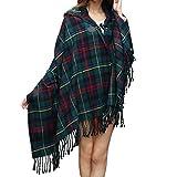 Women Plaid Hooded Poncho Bobo Shawl Fringe Tartan Wrap Tasseled Batwing Cape