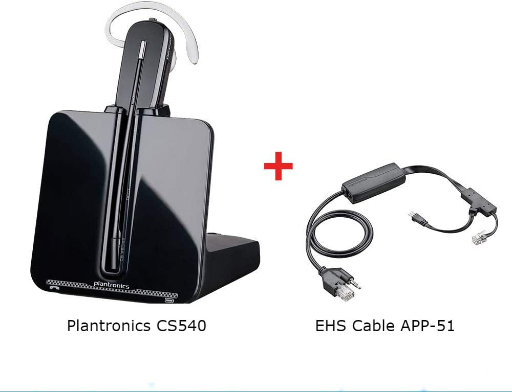Amazon Com Plantronics Cs540 Convertible Wireless Headset With Ehs Cable App 51 Bundle For Polycom Phone Systems Office Products