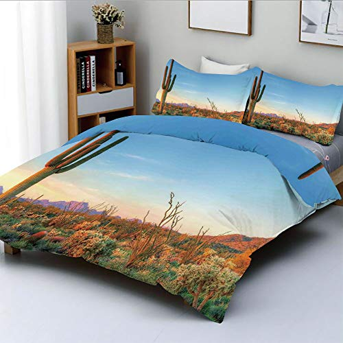 Duplex Print Duvet Cover Set Full Size,Sun Goes Down in Desert Prickly pear Cactus Southwest Texas National ParkDecorative 3 Piece Bedding Set with 2 Pillow Sham,Orange Blue Green,Best Gift For Kids &