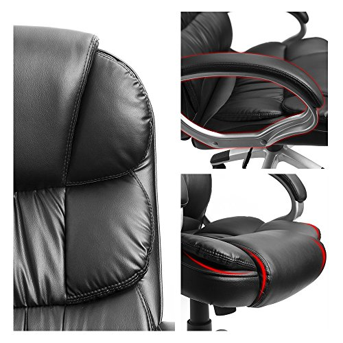 Furmax High Back Office Chair PU Leather Executive Desk Chair with Padded Armrests,Adjustable Ergonomic Swivel Task Chair with Lumbar Support(Black) by Furmax (Image #3)