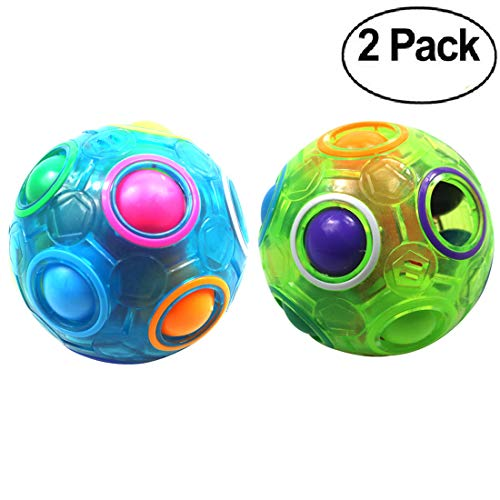 FCBB Fidget Ball Magic Cube Rainbow Ball Puzzle Cube Brain Teasers Fidget Educational Toy(2Pack Blue and Green) -