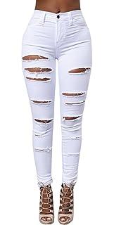 fb0ad1917fdc0 Wipstime Jeans en Denim à Revers pour Dames Pantalon Crayon en détresse  Patalon Boyfriend