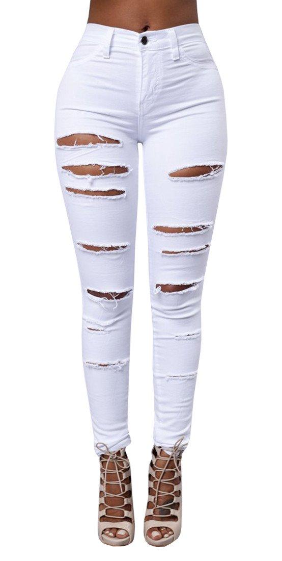 QingOrange Women High Waist Skinny Ripped Jeans Distressed Stretch Pencil Pants Boyfriend Trouser