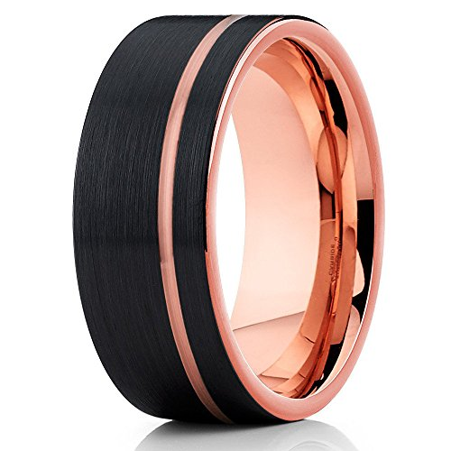 Silly Kings 8mm Brushed Black Tungsten Carbide Wedding Ring Rose Gold Inlay Offset Groove Men Women Comfort Fit Band 10 Gold Inlay Ring