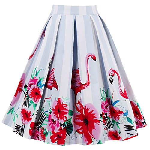 Line Women (Dressever Women's Vintage A-line Printed Pleated Flared Midi Skirts Flamingo Small)