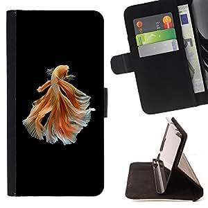 - Queen Pattern FOR Samsung Galaxy Core Prime /La identificaci????n del cr????dito ranuras para tarjetas tir????n de la caja Cartera de cuero cubie - goldfish black orange exotic