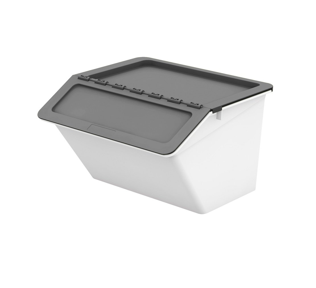 livinbox MHB Patented Pelican Series, 32 Quart, Stackable Nestable Storage Box 2 Stage Lid - Grey