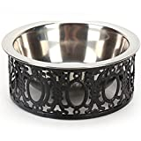 Be Good Stainless Steel Dog Bowl with Iron Frame Stand Non Skid Pet Food Water Feeder Cute Lace Retro Pet Bowls for Small Medium Dogs and Cats L Black