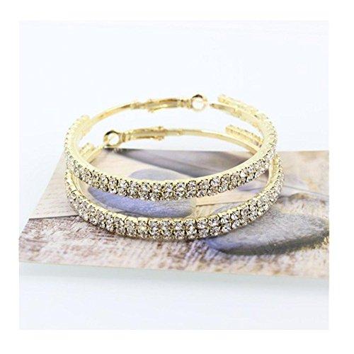 DENER Women Girls Fashion Double Row Crystal Rhinestone Ear Clip Stud Hoop Dangle Drop Earrings Jewelry ()