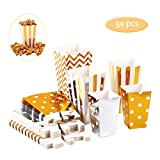 50pcs Popcorn Boxes, Popcorn cups, Gold and Silver, 5 Colour, 3 Size